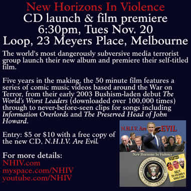 N.H.I.V. CD launch and film premiere - Loop, 6:30pm, Tues Nov 20